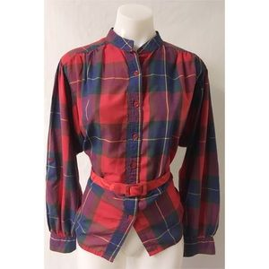 Vintage Red Plaid Vintage Top Size Large